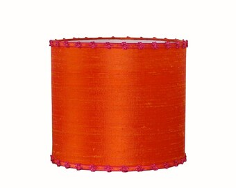 Orange Lamp Shade - Drum Lampshade - Dupioni Silk - Girls Room Decor - Modern Boho Chic - Custom Lampshades