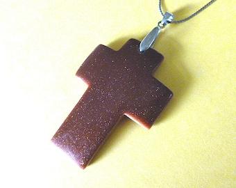 GENUINE GOLDSTONE Vintage Cross Pendant, Goldstone Cross & 18KGP Silvertone Chain, Cross Necklace, Cross Pendant, Gemstone Cross Necklace