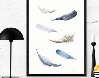 Blue feather painting. Floating feathers wall artprint from watercolor painting, 6 blue feathers poster, delicate and beautiful home decor.