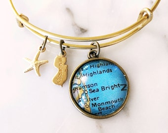 Sea Bright Bracelet - Charm Bracelet - Map Jewelry - Travel Bracelet - Bridesmaid Gift - Jersey Shore Bracelet - Wanderlust Bracelet