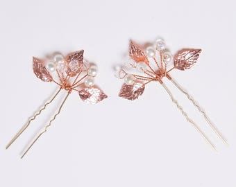 Bridal Hair Pins, Rose Gold Hairpins, Copper Hair Pins, Wedding Hair Pins, Bridal Hair Accessory, Boho Hair Pin, Rose Gold Hairpiece