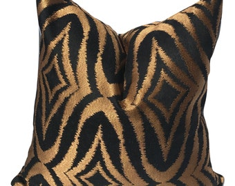 20in or 18in Pillow Cover, Decorative Pillow Cover, Gold and Black Pillow, Throw Pillow, Accent Pillow, Cushion Cover