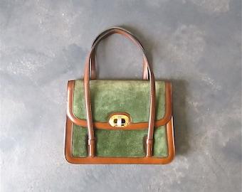 Vintage 1980's handbag moss green SPANISH SUEDE with brown trim
