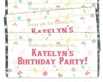 Birthday Candy Wrappers - fit over 1.55 oz chocolate bars, Spring Flowers, Birthday Party Favor, Chocolate Bar Candy Wrappers