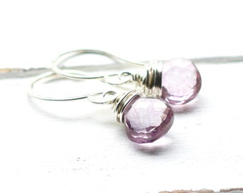Light Purple Pink Earrings, Wire Wrapped Mystic Quartz Faceted Dangle, Teardrop, Sterling Silver Earwires, Gemstone, Lavender, Lilac, Soft