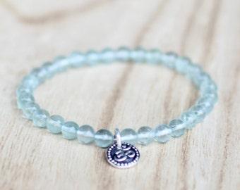 BLUE FLUORITE Bracelet with OM Charm Fluorite Stretch Bracelet Fluorite Gemstone Fluorite Stone Blue Bracelet