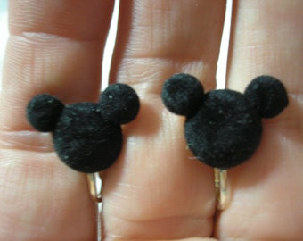 """Play Earring - Clip - Mouse Head - Flocked Black - 1/2"""""""