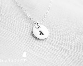 """NEW Customized Sterling Silver Single 3/8"""" Disc Necklace - Hand Stamped Personalized Charm - Sterling Jewelry - Wedding Jewelry - Simple"""