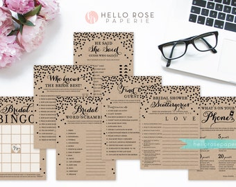 Bridal Shower Games Package . Bundle 7 Games . Rustic Kraft Paper Look . Printable Digital Download . Bridal Shower Fun Games . Country