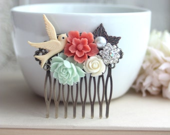 Flower Collage Hair Comb. Coral Sakura Flower, Mint Rose, Pearl, Cream, Swallow, Leaf Comb. Bridesmaids Gift, Wedding. Bridal Comb.