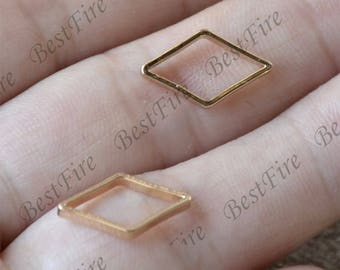 4 pcs 24K Gold plated Brass rhombus Ring, rhombus Connector, rhombus Link,necklace Connector loose bead,Charms Jewelry finding bead