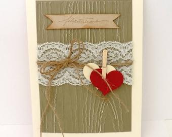 rustic wedding, congratulations, PACS, romantic card. Hand made