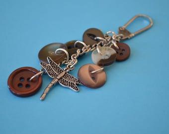 Dragonfly Bag Charm Dragonfly Keyring - Brown Button Keyring Dragonfly Flower Insect Button Bothy (WB29)