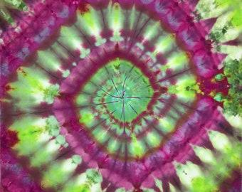 Tie Dye Ice Dye Spiral Green / Purple Bandana