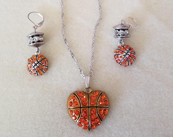 Basketball Lovers Necklace and Earrings (SKU: UVF2PP123)