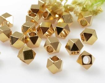 Diamond Cut Beads, 5mm, Raw Brass Beads, Solid Brass Bead, Large Hole Beads, 2.6mm