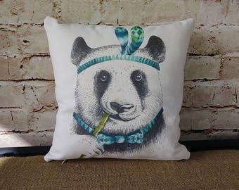 Nursery Pillow - Animal Pillow - Panda Bear Pillow - Boys Room Pillow - Boys Nursery Pillow - Boy Nursery - Boy Nursery Decor - Blue Panda