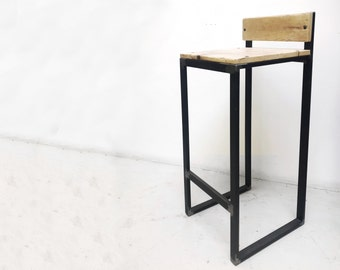 Wooden and iron Bar stool