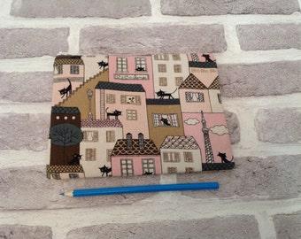 Black cat in Paris pencil cases, School supplies, pencil case, make up bag, flat make up bag , cat lover