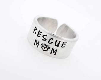 Personalized Hand Stamped Ring Pet Parent Rescue Mom  Gift for Pet Parent  Gift for him or her  unisex  silver ring  jewelry adopt pet