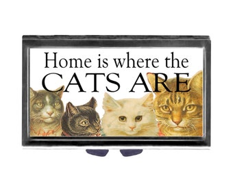 Home is where the CAts Are Pill Case with Mirror pill box 3 day sections victorian cats Wife Gift for him