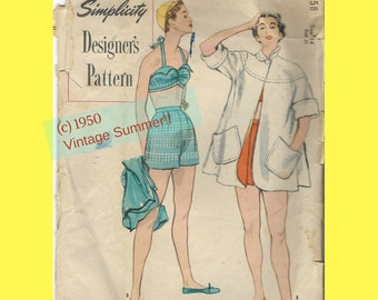 1950s Beach Outfit 2-piece Bathing Suit Swing Beach Coat Pockets Simplicity Designer's Pattern Oversize Envelope