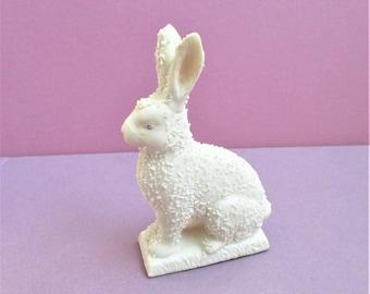 Bunny Rabbit Figurine Ceramic Rabbit Statuette Figural Art Home Decor Animal Statue Bunny Collectible Easter Home Decor White Rabbit