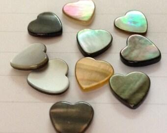 20pcs x 10-11mm Multi Color Shell Cabochons Heart Gauge1.2-2mm (BDS20)