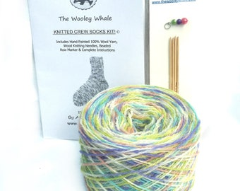 Sock Knitting Kit With Yarn, Colorway, Cotton Candy, Needles and Instructions Included