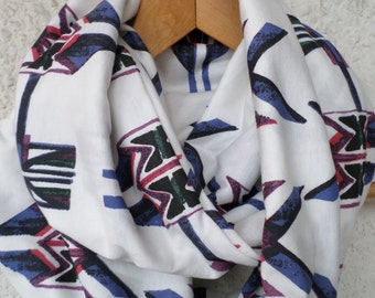 Print infinity scarf, Tribal infinity scarf, Tribal print scarf, Infinity scarf, Loop scarf, Circle scarf, Jersey scarf,  Valentine's