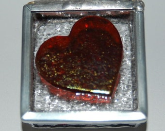 Iridized Heart Stained Glass Trinket Box