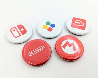 """5 Pack 1.25"""" Nintendo Logo Pin-back Buttons or Magnets - My Nintendo, Switch, Mario, Buttons, and Original Logos"""