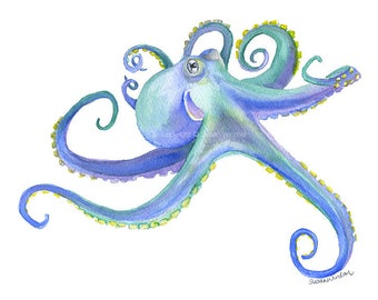 Octopus Watercolor Painting - 14x11 - Giclee Print Reproduction - Wall Art
