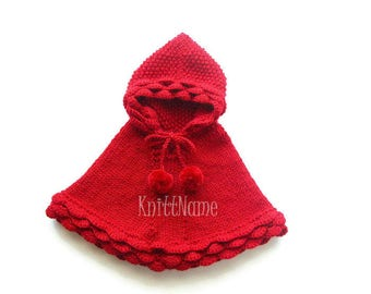 Baby Girl Knit Poncho, Little Red Riding Hood, Toddler Hooded Cape, Alpaca Kid Sweater, Made To Order