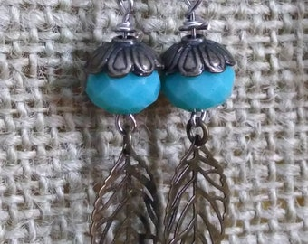 Blue dangles with leaves