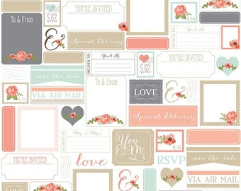 Rustic Postcards in White Cotton Fabric from the Rustic Elegance Collection by Carta Bella for Riley Blake