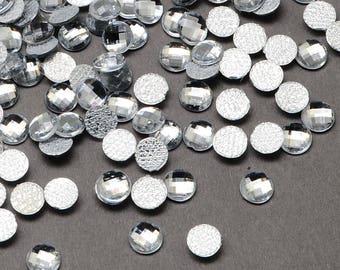 100 x white faceted rhinestones