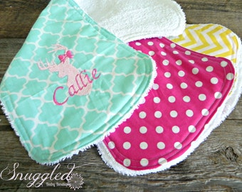 Personalized Baby Girl Burp Cloth, Set of 3, Bright Colors Deer