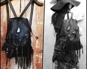 Bohemian rucksack, Backpack,fringe, Deerskin,Turquoise, Nomad World,hippie,gypsy,boho