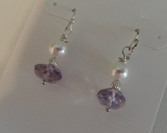 Amethyst and Pearl Earrings   -   #277