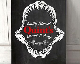 Jaws Amity Island Quint's Shark Fishing Chalk effect A4 metal plaque
