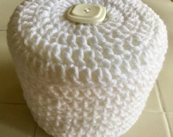 White Toilet Paper Cover Crochet with white Button accent
