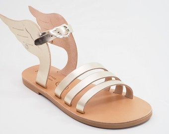 "Sandals with wings - Gold - Silver- Rose gold - Greek Leather sandals-gladiator sandals ""Hermes"""