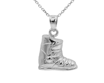 10k White Gold Snow Boot Necklace