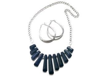 Blue Goldstone Gemstone Graduated Bib Necklace Set