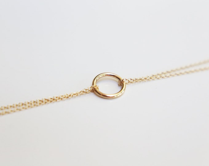 Halo Double chain bracelet - gold filled and sterling silver  EB012