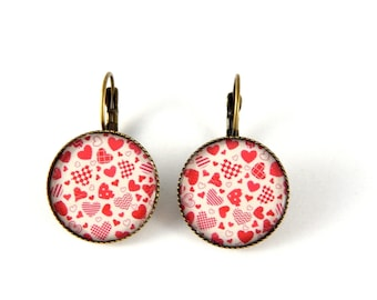 Earrings vintage red hearts Stud retro earrings