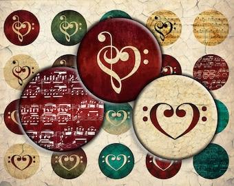 Music Hearts Digital Download - 30mm, 25mm (1 inch) & 20mm circles - Digital Collage Sheet for Bezel Cabochon Pendants, Crafts
