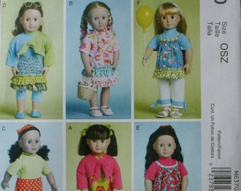 "McCall's M6370 18"" Doll Clothes Sewing Pattern ((15 Varitations) New/Uncut"