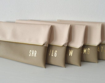 Set of 5 Monogrammed Clutches / Bridesmaids Gift / Gold Initials Imprinted Clutch Purses